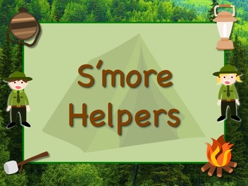 CAMPING Theme Job Chart Cards/Signs Great for Classroom Management! S'more Help!