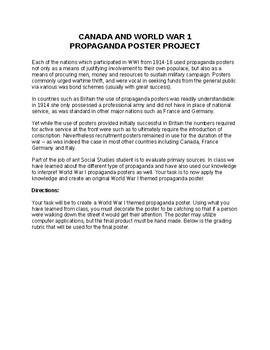 CANADA AND WORLD WAR 1 PROPAGANDA POSTER PROJECT