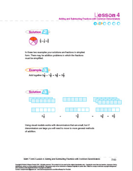 CANADA M7:Fractions and Percents:L4:Add&Subtract Fractions w/ Common Denominator