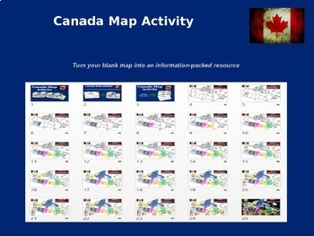 CANADA Map Activity - follow-along PowerPoint with blank map handouts