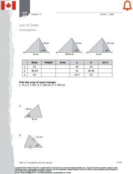 CANADA Math 10: Measurement & Geometry: Lesson 3: The Law of Sines