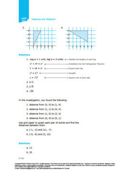 CANADA Math 10: Measurement & Geometry: Lesson 5: Distance and Midpoint