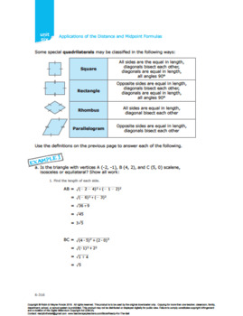 CANADA Math 10: Measurement &Geometry:Lesson 6: Apply Distance& Midpoint Formula