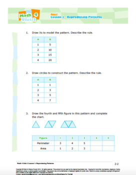 CANADA Math 4: Algebra: L1: Reproducing Patterns Quiz