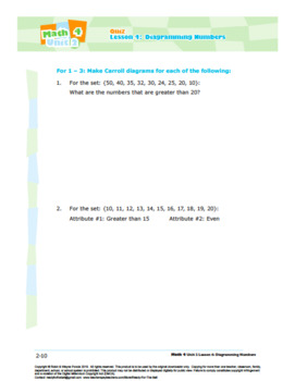 CANADA Math 4: Algebra: L4: Diagramming Numbers Quiz