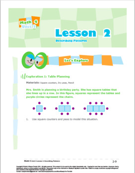 CANADA Math 4: Algebra: Patterns and Relations: L2: Describing Patterns
