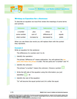 CANADA Math 4: Algebra: Patterns and Relations: L5: Addit and Subtract Equations