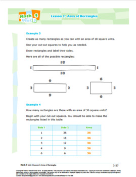 CANADA Math 4: Geometry: Shape and Space: L3: Area of Rectangles