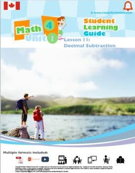 CANADA Math 4: Number Concepts: L11: Decimal Subtraction