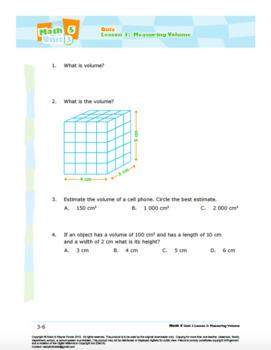 CANADA Math 5: Geometry: L3: Measuring Volume Quiz