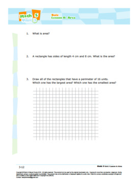 CANADA Math 5: Geometry: L6: Area Quiz