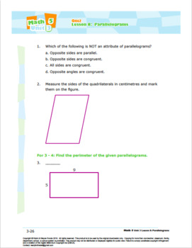 CANADA Math 5: Geometry: L8: Parallelograms Quiz