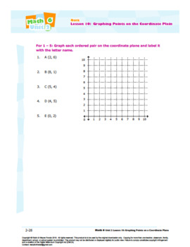 CANADA Math 6: Algebra: L10: Graphing Points on the Coordinate Plane Quiz