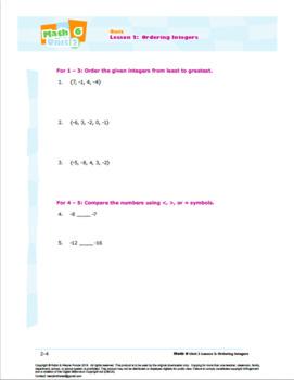 CANADA Math 6: Algebra: L2: Ordering Integers Quiz