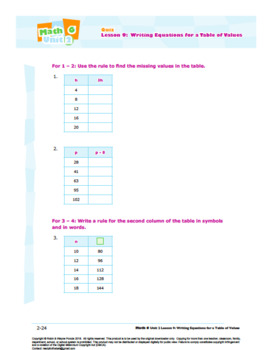 CANADA Math 6: Algebra: L9: Writing Equations for a Table of Values Quiz