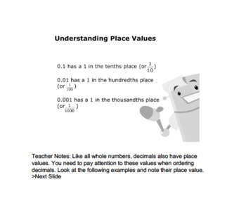CANADA Math 6: Algebra: Ordering Decimals (to Thousandths) Concept Capsule