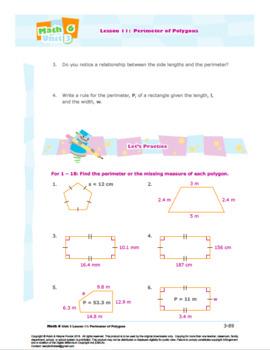 CANADA Math 6: Geometry: L11: Perimeter of Polygons Worksheet