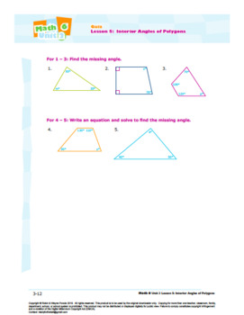 CANADA Math 6: Geometry: L5: Interior Angles of Polygons Quiz
