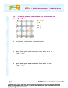 CANADA Math 6: Geometry: L7: Transformations on a Coordinate Plane Quiz