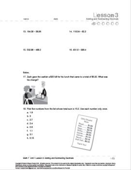 CANADA Math 7: Decimals: L3: Adding and Subtracting Decimals