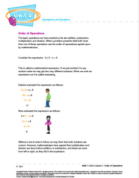 CANADA Math 7: Expressions and Equations: L1: Order of Operations