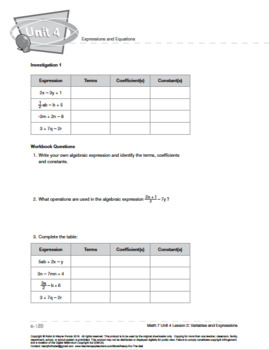 CANADA Math 7: Expressions and Equations: L2: Variables and Expressions
