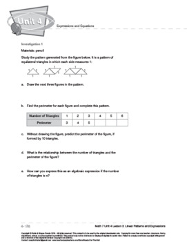 CANADA Math 7: Expressions and Equations: L3: Linear Patterns and Expressions
