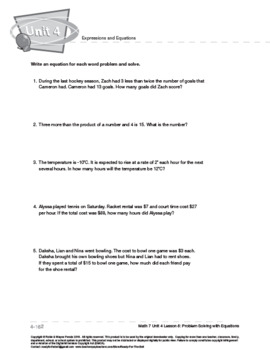 CANADA Math 7: Expressions and Equations: L8: Problem Solving with Equations