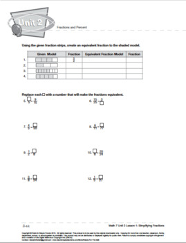 CANADA Math 7: Fractions and Percents: L1: Simplifying Fractions