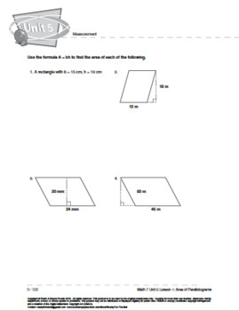 CANADA Math 7: Measurement: L1: Area of Parallelograms