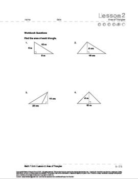 CANADA Math 7: Measurement: L2: Area of Triangles