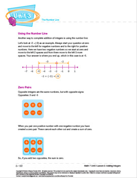 CANADA Math 7: The Number Line: L3: Adding Integers