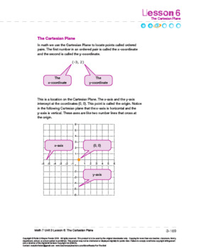 CANADA Math 7: The Number Line: L6: The Cartesian Plane