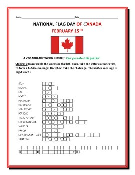 CANADA: NATIONAL FLAG DAY- VOCABULARY WORD JUMBLE PUZZLE: TAKE THE CHALLENGE!