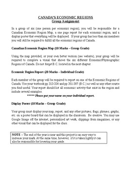CANADA'S ECONOMIC REGIONS Group Assignment