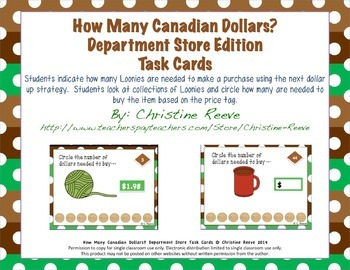 CANADIAN How Many Dollars? Department Store Task Cards: [Money; Special Ed.]