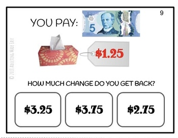 CANADIAN How Much Change Do You Get Back? Task Cards