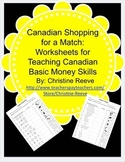 CANADIAN Money Skill Worksheets: Shopping for a Match {Special Ed; Autism}