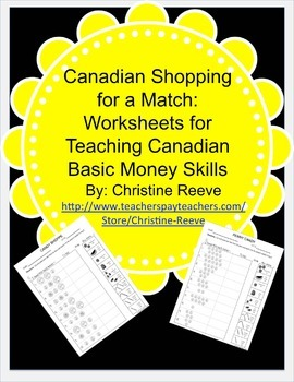 CANADIAN Money Skill Worksheets: Shopping for a Match {Spe