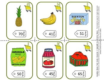 CANADIAN Money Task Cards 1--Groceries (Special Education-Coins to $1)