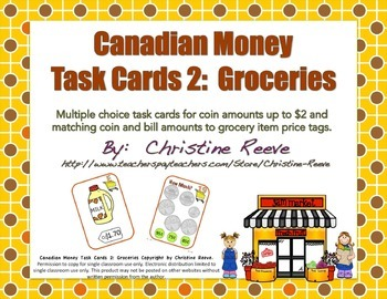 CANADIAN Money Task Cards 2--Groceries (Special Education-Coins to $2)