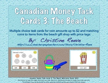 CANADIAN Money Task Cards 3--The Beach (Special Education-Coins to $2)