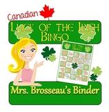 Money Math - CANADIAN St. Patrick's Day Adding Coins Bingo