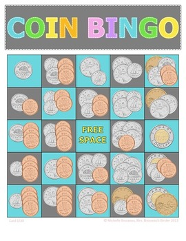 Money Math - CANADIAN Bingo Bundle - 5 Coin Addition Bingo Games + Bonus Game!