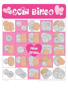 Money Math - CANADIAN Valentine's Day Adding Coins Bingo Cards -30 Unique Cards!
