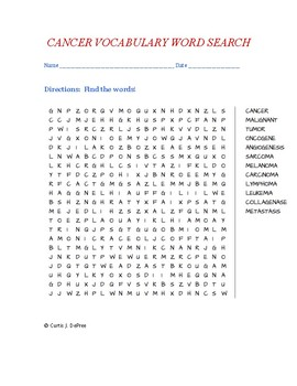 CANCER VOCABULARY WORD SEARCH