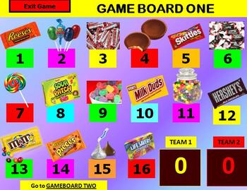 CANDY BARS AND CANDY Review Game Template POWERPOINT