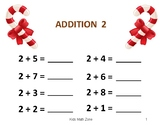 CANDY CANE ADDITION WORKSHEETS B (12 Worksheets) CHRISTMAS