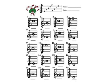 CANDY CANE -NAME THAT MUSIC NOTE C Scale w Answer Sheet!  Great for Subs!