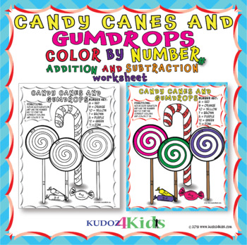 CANDY CANES AND GUMDROPS COLOR BY NUMBER FOR ADDITION AND SUBTRACTION